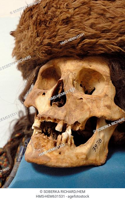 Chile, Antofagasta region, Altiplano, San Pedro de Atacama, Gustave Le Paige archaeological museum, Atacama Indian skull wearing a cap