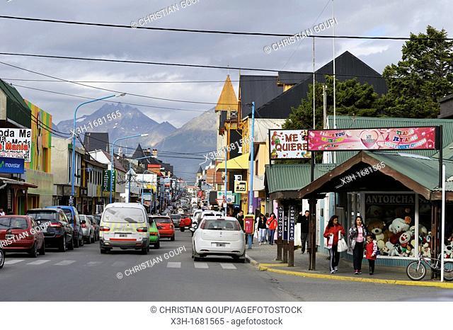 San Martin main street, downtown, Ushuaia, Tierra del Fuego, Patagonia, Argentina, South America
