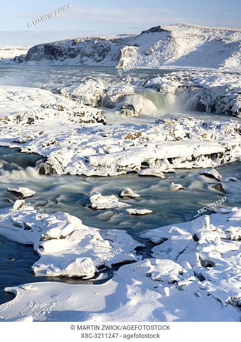 Waterfall Urridafoss during winter, river Thorsa in southern Iceland near Sellfoss. Europe, Northern Europe, Scandinavia, Iceland, February