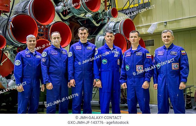 Expedition 49 backup crew members Mark Vande Hei of NASA, left, Alexander Misurkin of Roscosmos, second from left, and Nikolai Tikhonov of Roscosmos