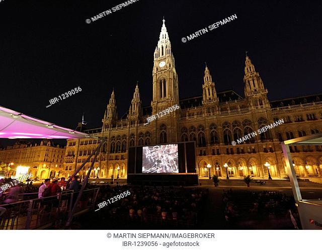 Film festival on the Rathausplatz town hall square, town hall, Vienna, Austria, Europe