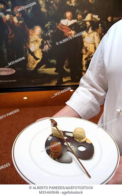 Netherlands - Noord Holland - Amsterdam - Restaurant Le Camelia, in the hotel Okura Amsterdam. Menu inspired on Rembrandt. 'Rembrandt pallet' dessert