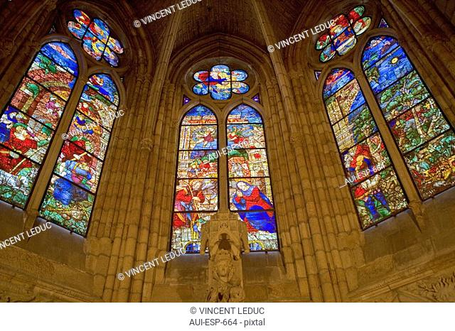 Spain - Castile and Leon - Leon - Cathedral - Stained glass windows