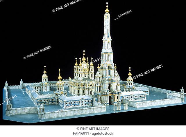 Model of Smolny Convent of the Resurrection in St. Petersburg. Rastrelli, Bartolomeo Francesco (1700-1771). Wood, tempera. Rococo. 1750–1756