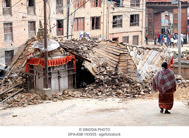 Residential building collapsed, earthquake, nepal, asia