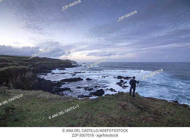 Seascape by twilight North of Sao Miguel island, Azores, Portugal