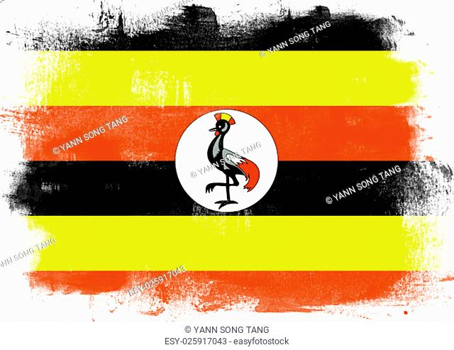 Flag of Uganda painted with brush on solid background