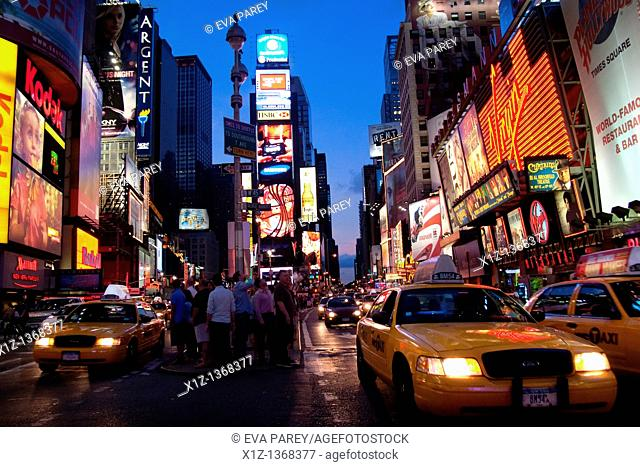 Times Square at night in Manhattan New York City