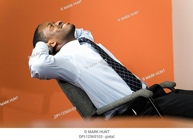 Business man resting in an office