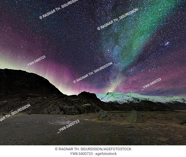 Aurora Borealis and the milky way over Hoffellsjokull Glacier, Iceland