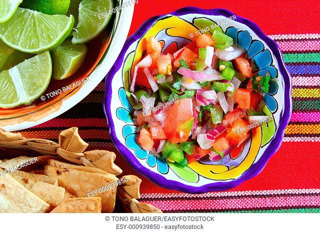 Pico de gallo tomato and chili Mexican sauce serape tablecloth
