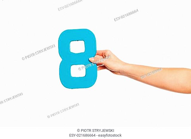 hand holding up the number eight from the right