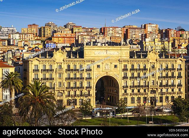 Santander Bank Headquarters. Panoramic view, urban center of Santander city. Cantabria, north Spain. Europe