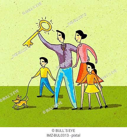 Family holding a golden key and walking their dog