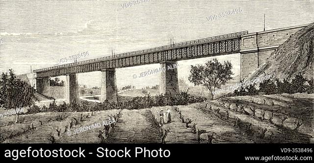 Infanta Maria Iron Path. Train line Barcelona to Granollers and San Juan de las Abadesas. Iron Bridge of the tubular system of Parets del Valles over the...