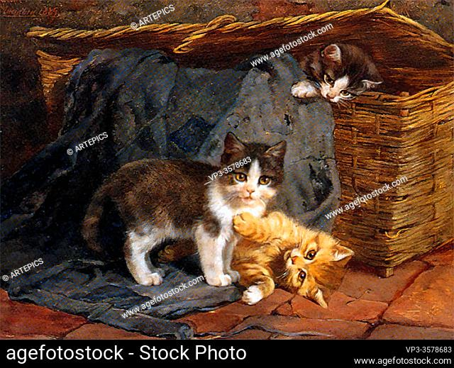 Adam II Julius - the Playful Kittens - German School - 19th and Early 20th Century