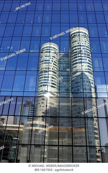 Skyscrapers, Tour Coeur Défense reflected in the glass facade of the Opus 12 building, La Défense, Paris, France, Europe