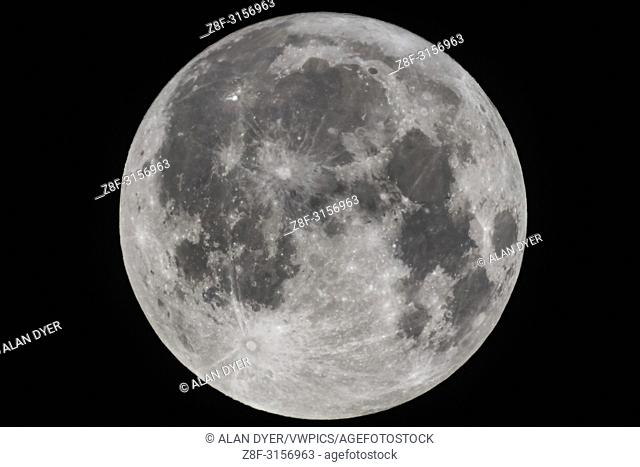 The Full Moon of September 5, 2017, the Harvest Moon, as shot through my 130mm apo refractor for a frame-filling view. I used a 2X Barlow and the Canon 60Da...
