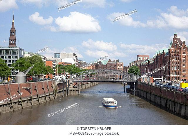 Inland harbour, tower of the St. Catherine's Church, launch, warehouse district, Hamburg, Germany, Europe