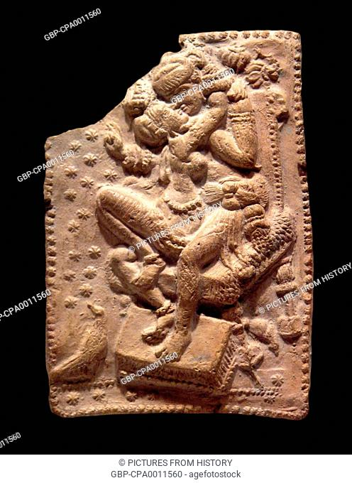 India / Bangladesh: A man and a woman making love, possibly members of the royal family, Bengal, Sunga Dynasty, c. 1st century BCE