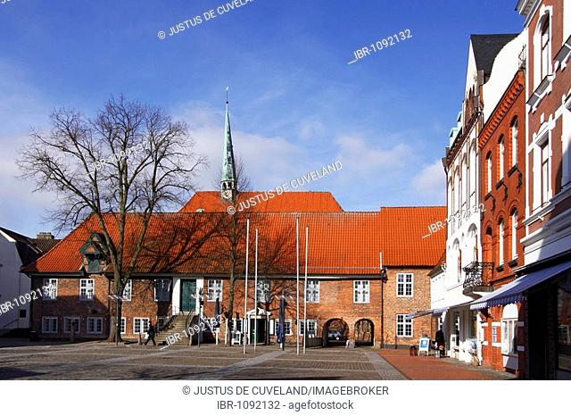 Museum and Ratskeller restaurant at the market square in front of St. Nicolai Church in the historic town centre, Baltic Sea seaside resort town of Eckernfoerde