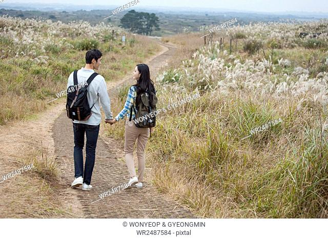 Back of young smiling couple walking hand in hand face to face on path through silver grass field