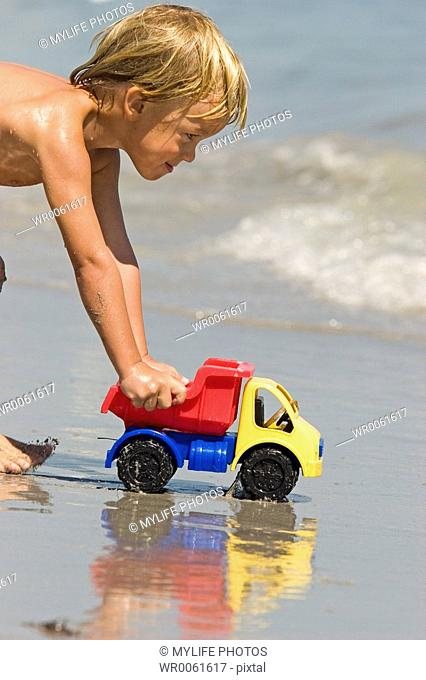 toy truck at beach
