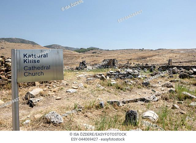 Ancient ruins in Hierapolis, Pamukkale, Turkey. UNESCO World Heritage
