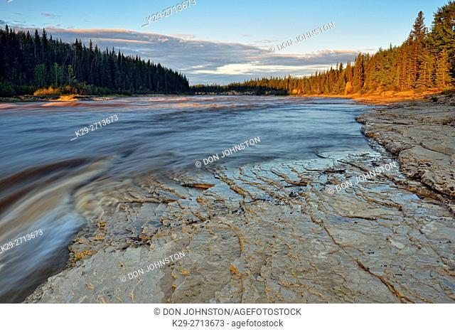 Hay River at sunrise, above Alexandra Falls, Twin Falls Territorial Park, Northwest Territories, Canada