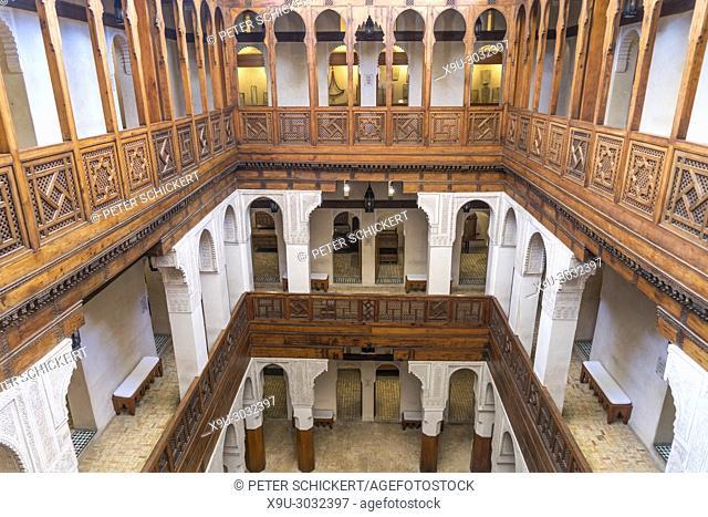 caravanserai Fondouk el-Nejjarine, Museum of Wooden Arts and Crafts or Musée du Bois interior, Fes, Kingdom of Morocco, Africa
