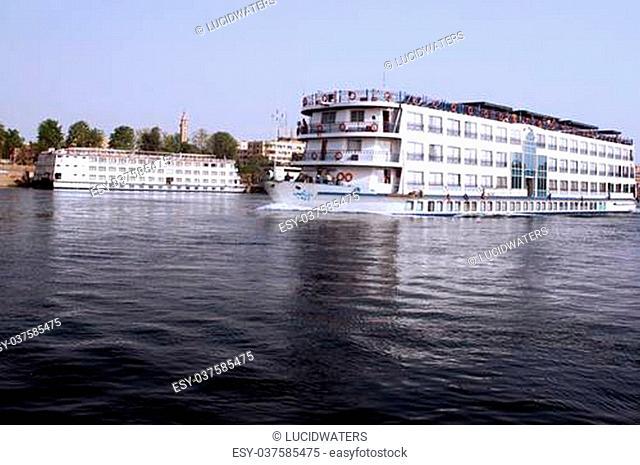 Cruise Boats on the river Nile near Aswan, Egypt