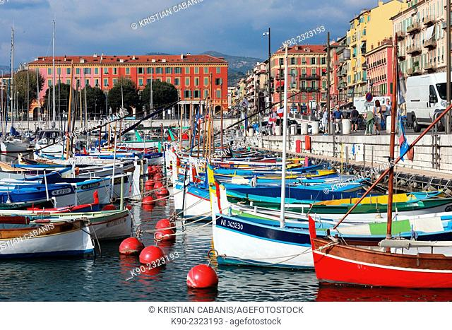 Fishingboats in the port of Nice, France, Europe