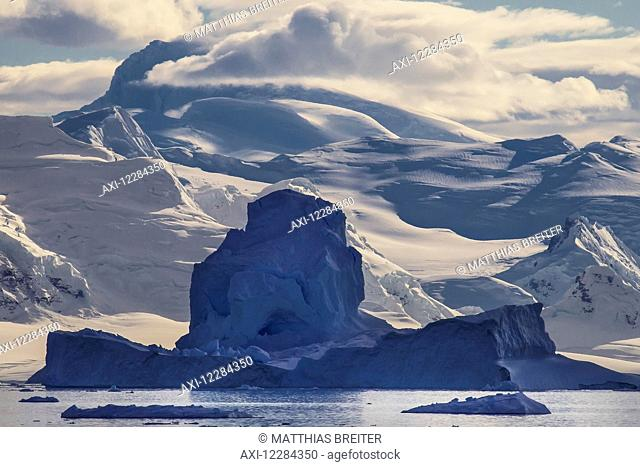 Icebergs in Gerlache Strait in front of Neko Harbor, Antarctic Peninsula; Antarctica