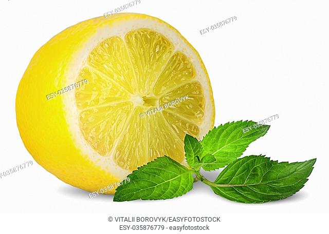 Half lemon and sprig of mint isolated on white background