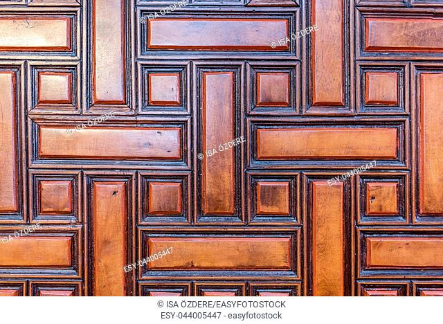 Wood carved old ancient door of Valide-i Cedid Mosque located in Uskudar,Istanbul,Turkey