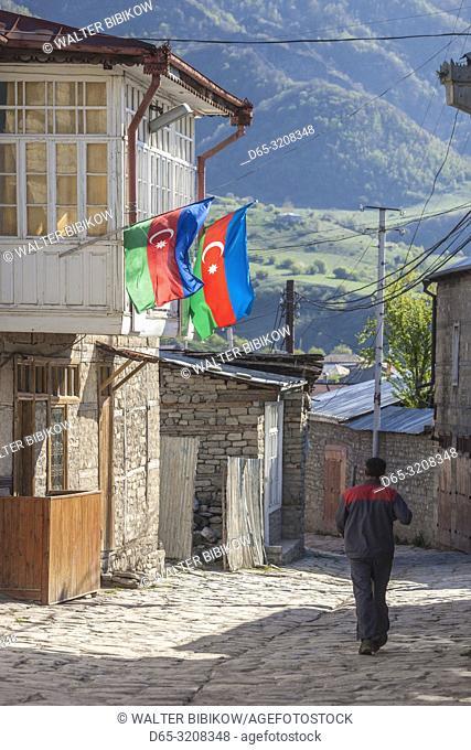 Azerbaijan, Lahic, main street with person, NR