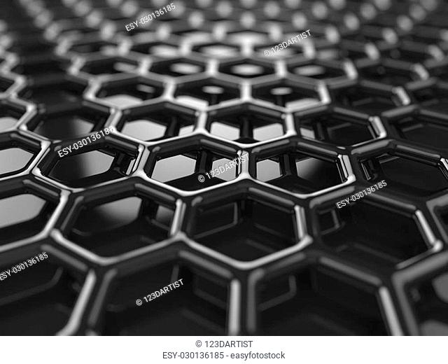 Abstract black heaxagonal carbon background