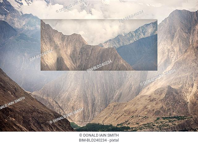 Glitch effect of mountains and valley, Hunza, Northern Areas, Pakistan