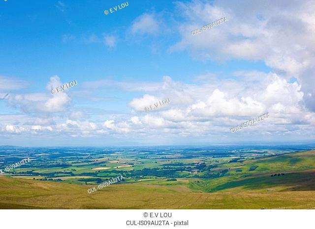 High angle view of rural landscape and blue cloudy sky, Cumbria, UK