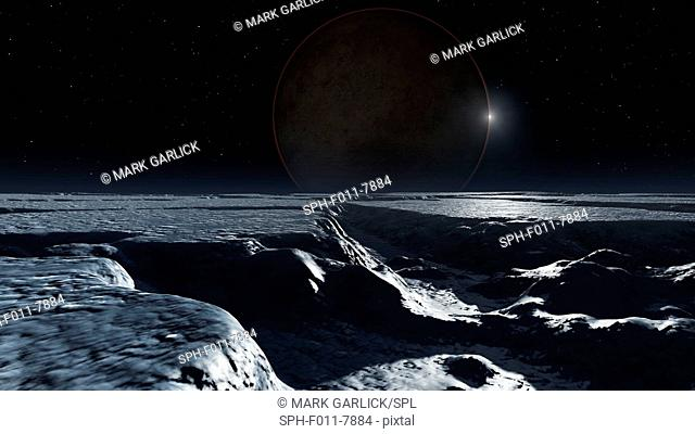 Here's a picture I just finished showing the dwarf planet Pluto as it might appear from the surface of its biggest natural satellite, Charon