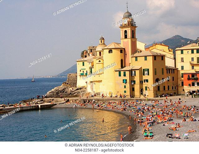 Crowded beach at Camogli, Liguria, Italy