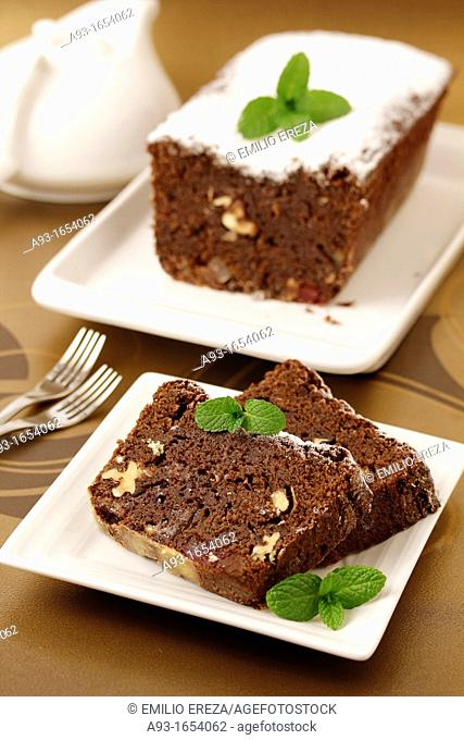 Chocolate plumcake with fruit and nuts