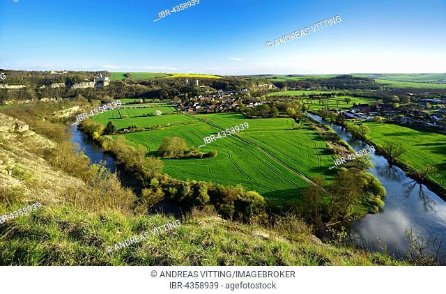 Saaletal with village Saaleck,near Bad Kosen, Saxony-Anhalt, Germany
