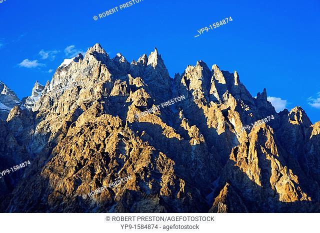 Cathedral spires mountain peaks, Passu, Hunza Valley, Karakorum, Pakistan