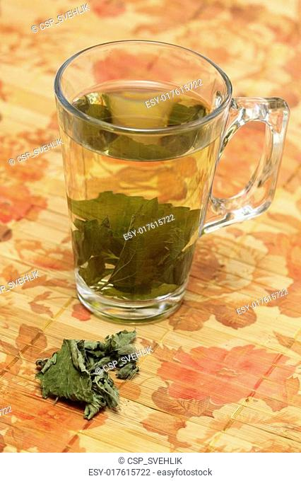 Tea from dried lemon balm leaves