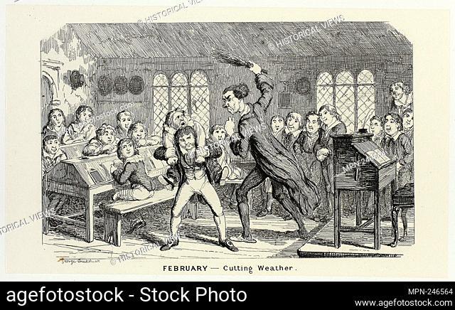 February - Cutting Weather from George Cruikshank's Steel Etchings to The Comic Almanacks: 1835-1853 - 1839, printed c. 1880 - George Cruikshank (English