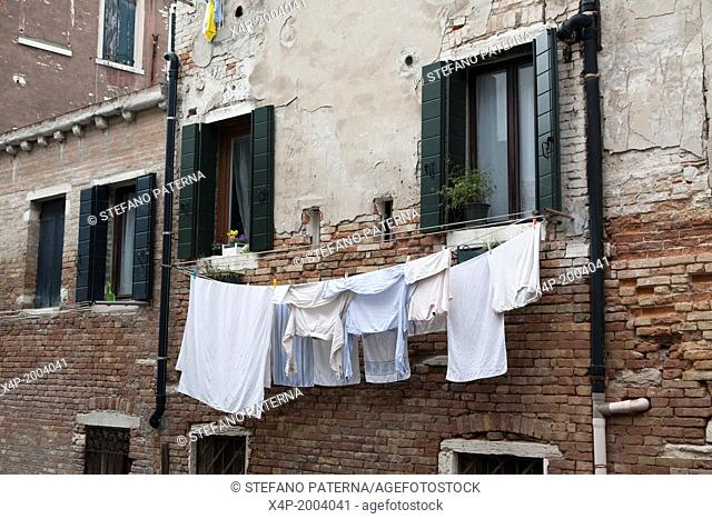 Drying clothes, Canal, Venice, Italy