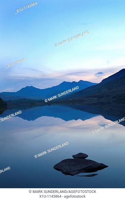 Snowdon Horseshoe at sunset from Llynnau Mymbyr Conwy Wales