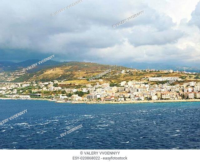 view of town Reggio di Calabria from sea