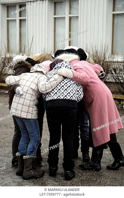 Gilrs during break in preliminary school